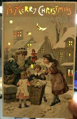 Santa Claus Hold To Light Postcard Christmas Wow 2of3