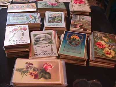 BOX LOT 1100 VINTAGE HOLIDAY GREETINGS POSTCARDS