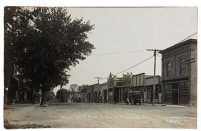 C.R. Childs RPPC Main Street East From Lincoln Mahomet Illinois Champaign County