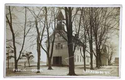 1912 RPPC Public School At Thomasboro Illinois Champaign County