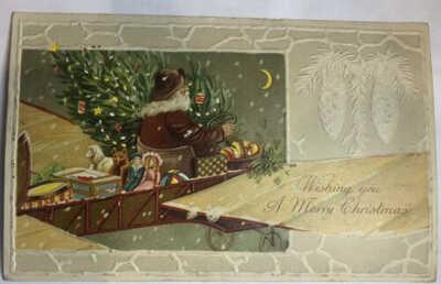 Santa Claus Hold To Light Postcard Christmas Flying AirPlane RARE!