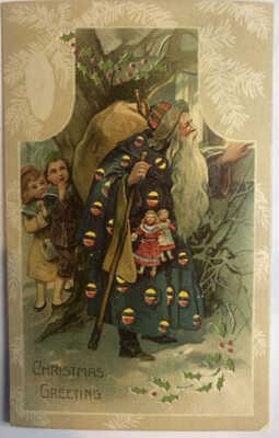 Santa Claus Christmas Postcard Hold To Light Full Length WOW