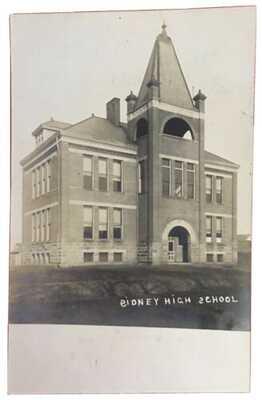 1908 RPPC Public High School At Sidney, Illinois Champaign County