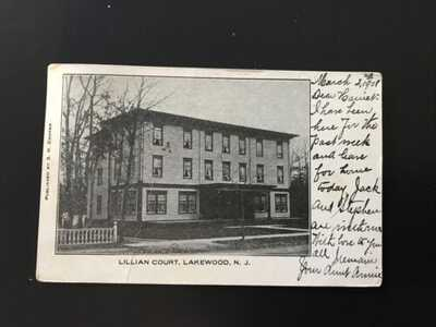 1908- Picture Of Lillian Court, Lakewood NJ  Postcard ~ New Jersey