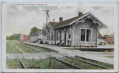Rare, unlisted W E Burgess Scottsville VA postcard C&O Railway Station Louisa VA