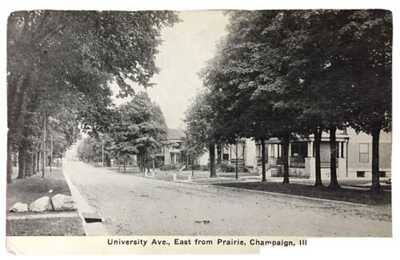 E.C. Kropp Lithograph University Avenue East From Prairie In Champaign, Illinois