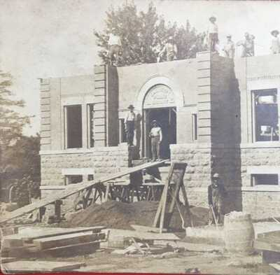 1907 RPPC Construction Carnegie Library Mount Carroll, Illinois. Carroll County