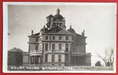 RPPC Immense County Courthouse Featuring Three Domes At Stanton, Texas.
