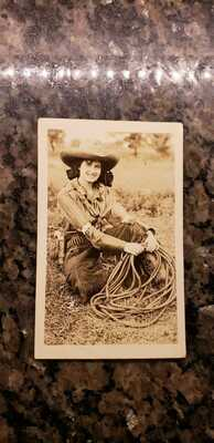 rppc  Cowgirl with a gun and rope 101 ranch postcard Ruth roach