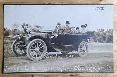 RPPC Joseph Letterman. Vintage Halladay Touring Automobile. Champaign Illinois.