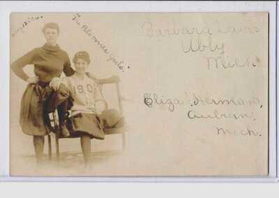 "Real Photo Postcard RPPC Women's Baseball ""Bloomer Girls"" Ubly & Auburn Michigan"