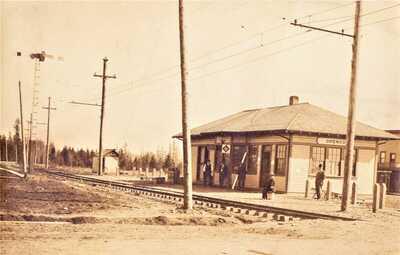 RPPC- ORENCO, OREGON TRAIN STATION CIRCA 1909 REAL PHOTO ANTIQUE POSTCARD FINE!