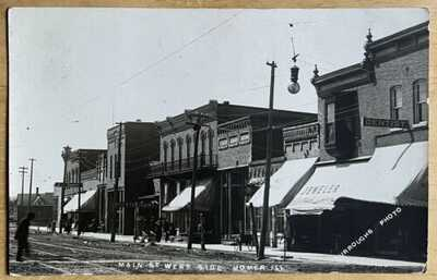Burrough's RPPC West Side Of Main Street Homer, Illinois. Champaign County
