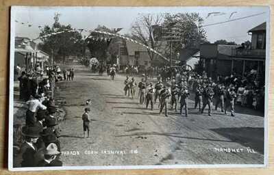 1910 RPPC Corn Carnival Parade At Mahomet, Illinois. Champaign County