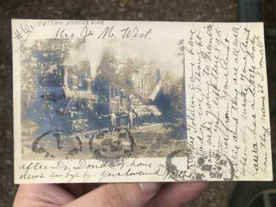 Antique real photo 1908 MEEHAN JUNCTION, MISSISSIPPI logging Railroad postcard