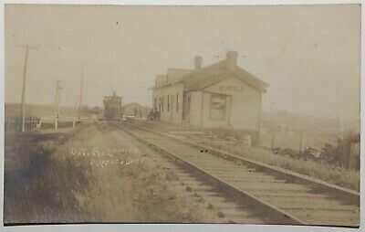 Myrtle Ontario Depot Grand Trunk Railway Real Photo Postcard - 1908 RPO Cancel
