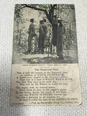 RARE Vintage Postcard -Sabine County, TX  1908