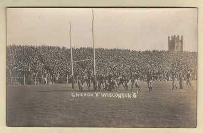 Football Stadium Marshall Field Univ. of Chicago, ILLINOIS Wisc v. Chi 1909 RPPC