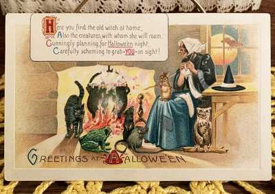 EXCEEDINGLY RARE UNused Vintage Halloween Elongated P Postcard, Germany ca 1910!