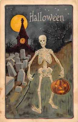 Halloween Greetings Skeleton in Graveyard Vintage Postcard JI658558