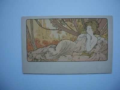 Antique Postcard by Alphonse Mucha «Crepuscule » Ref. Bowers & Martin p.72