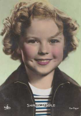 Shirley Temple hand Tinted Color French Real Photo Postcard c1930s