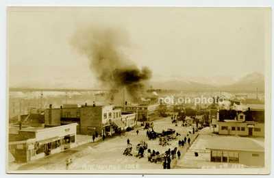 RPPC Feb 7, 1922 Anchorage Alaska Fire on 4th Avenue Brown & Hawkins