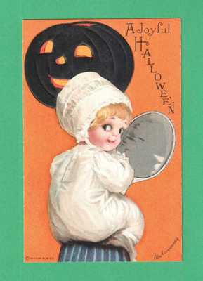 VINTAGE ELLEN CLAPSADDLE HALLOWEEN POSTCARD LITTLE GIRL DADDY'S KNEE MIRROR JOL