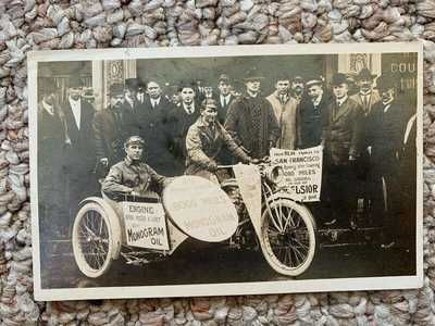 Rppc Real Photo Postcard Excelsior Motorcycle SF to NYC Trip Rare 1914 1915