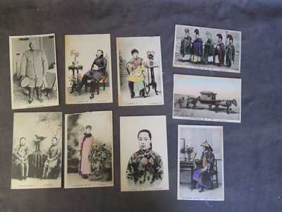 Antique China 9 Postcards - Tinted - Chinese Beauties - President   Lot 25  dl