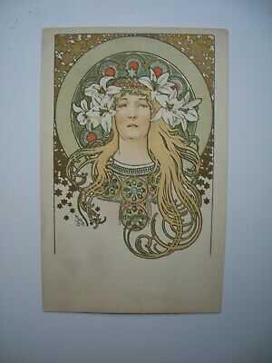 Antique Postcard by Alphonse Mucha «Sarah Bernhardt » Ref. Bowers & Martin p.8