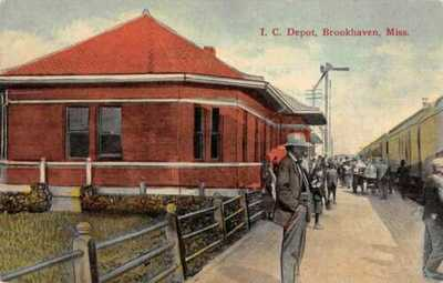 Brookhaven Mississippi Train Station Railroad Depot Vintage Postcard AA1053