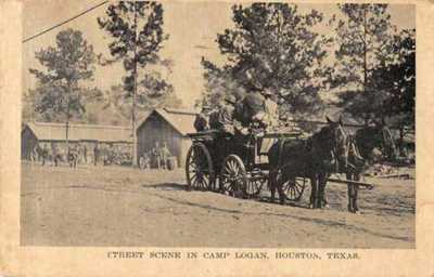Houston Texas Camp Logan Horse Cart Vintage Postcard AA1721