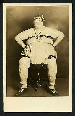 American 1920s TATTOOED Woman FAT LADY RPPC TATTOOS Circus ~ VASTA Archive
