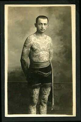 American/Canadian 1915 Body Tattoo TATTOOED Man Circus RPPC ~ VASTA Archive