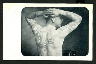 English 1910 Unknown TATTOO Male Arms Up Seen From The Back ~ VASTA Archive