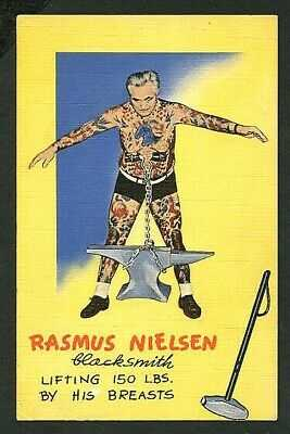 American 1940s Linen PC TATTOOED Man RASMUS NIELSEN Signed ~ VASTA Archive