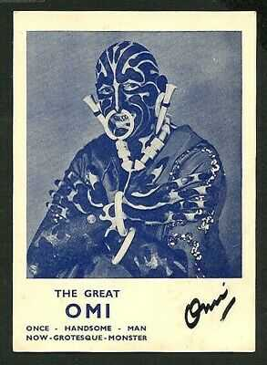 American 1940 The GREAT OMI Facial TATTOO Signed PITCH Card ~ VASTA Archive