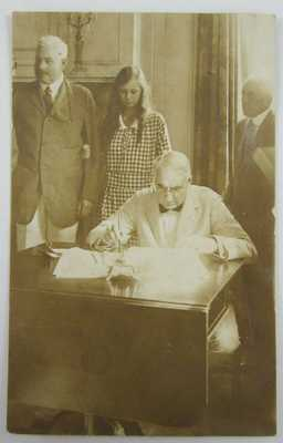 RPPC President Harding Signing WWI Peace Treaty Raritan NJ Real Photo Postcard