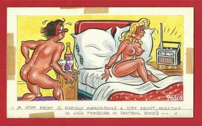 ORIGINAL SAUCY POSTCARD ARTWORK by PEDRO - 'A STIFF FRONT..' 24cm x 13cm  (OS01)