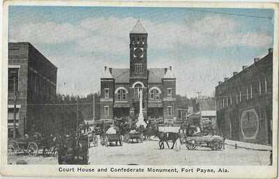 1920's COURT HOUSE & CONFEDERATE MONUMENT FORT PAYNE ALABAMA DEKALB COUNTY KODAK