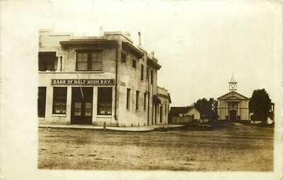 BANK OF HALF MOON BAY & STREET, CALIFORNIA, RPPC, VINTAGE POSTCARD