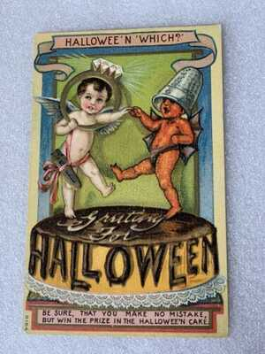 Vtg HTF halloween Postcard B-154 Hallowee'n Which