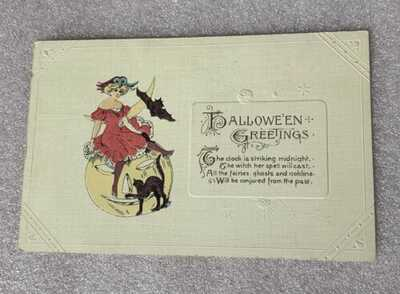 Vtg SCARCE WINSCH SCHMUCKER Halloween postcard clock is Stricking  midnight
