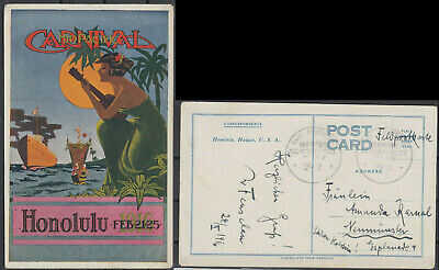 USA Hawaii Honolulu Carnival old Postcard 1916 mailed Germany Fieldpost WW1