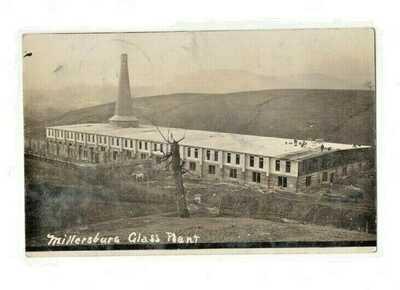 vintage RPPC MILLERSBURG GLASS PLANT  MILLERSBURG,OHIO 1909