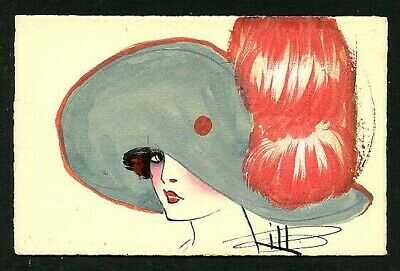 French 1920s ART DECO Portrait HAND DRAWN Postcard WATERCOLOR ~ VASTA Archive