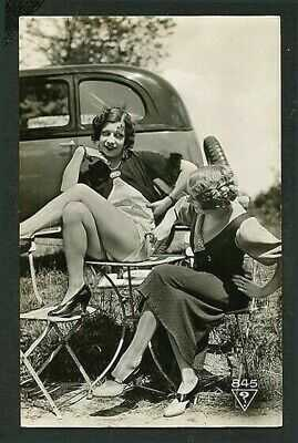 French 1920s Ostra Studio AUTOMOBILE Lesbian Couple PANTY Flasher VASTA Archive