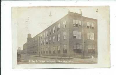 Real Photo Postcard Post Card Canton Illinois Ill Il P and O Plow Works Farming