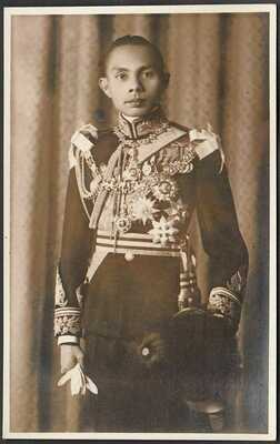 ee12 Thailand Siam real photo old postcard Prince Aditya Dibabha with Medals